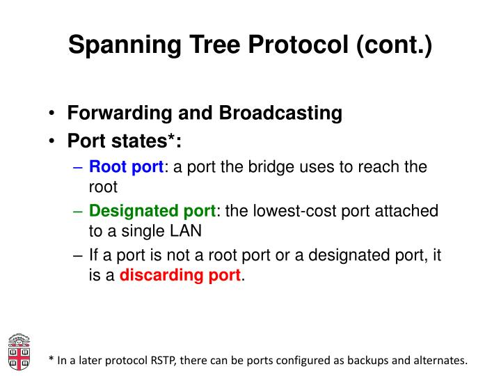 Spanning Tree Protocol (cont.)
