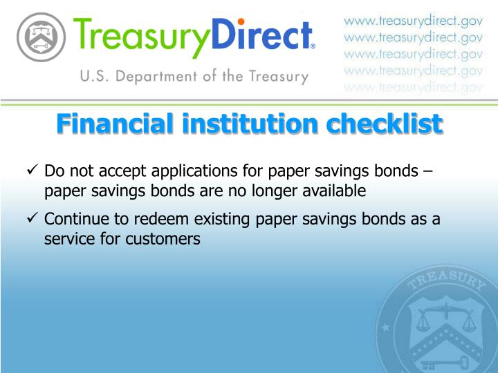 Financial institution checklist