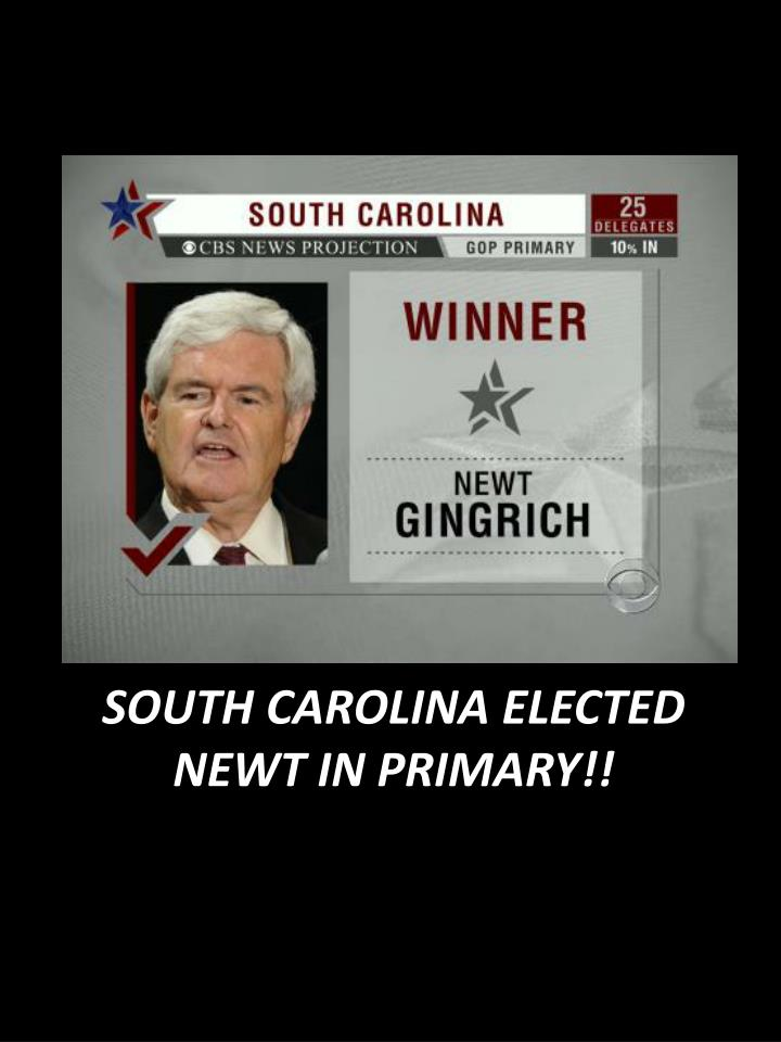 South carolina elected newt in primary
