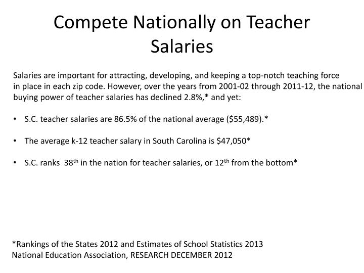 Compete Nationally on Teacher Salaries