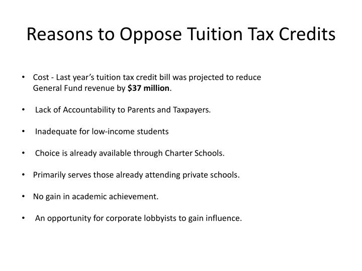 Reasons to Oppose Tuition Tax Credits