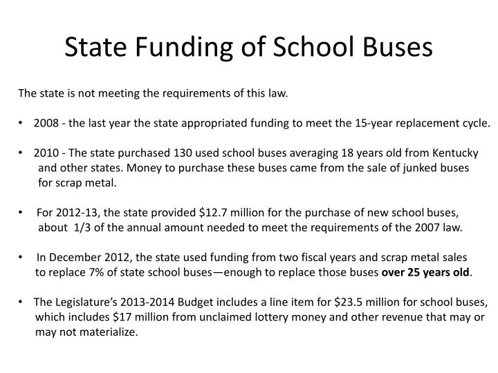 State Funding of School Buses