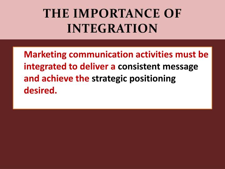 importance of integrated marketing communications It is the aim of any integrated marketing communications practitioner to cover all these contact points: including customer service, store design, direct marketing, word-of-mouth marketing, the internet, after-sales service, new media etc.