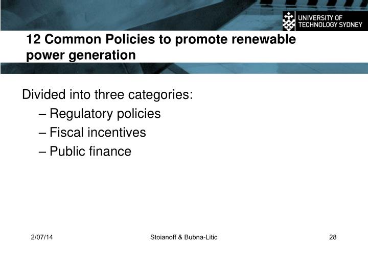 12 Common Policies to promote renewable power generation