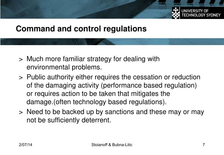 Command and control regulations