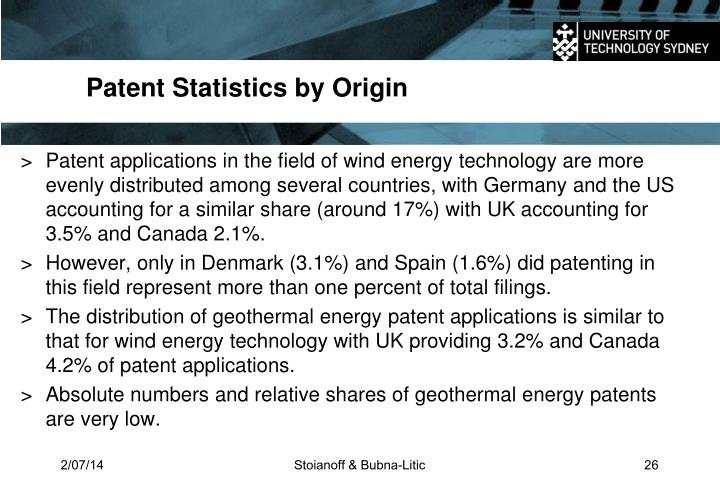 Patent Statistics by Origin
