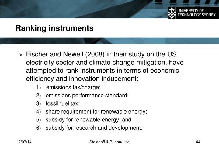Ranking instruments