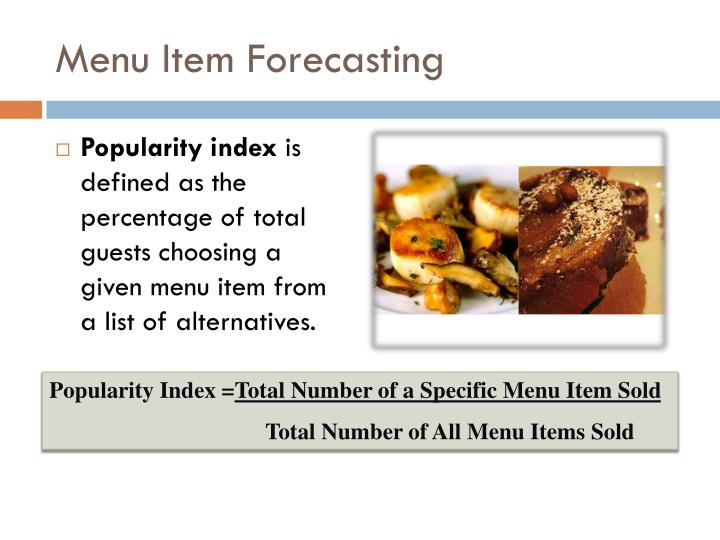 Menu Item Forecasting