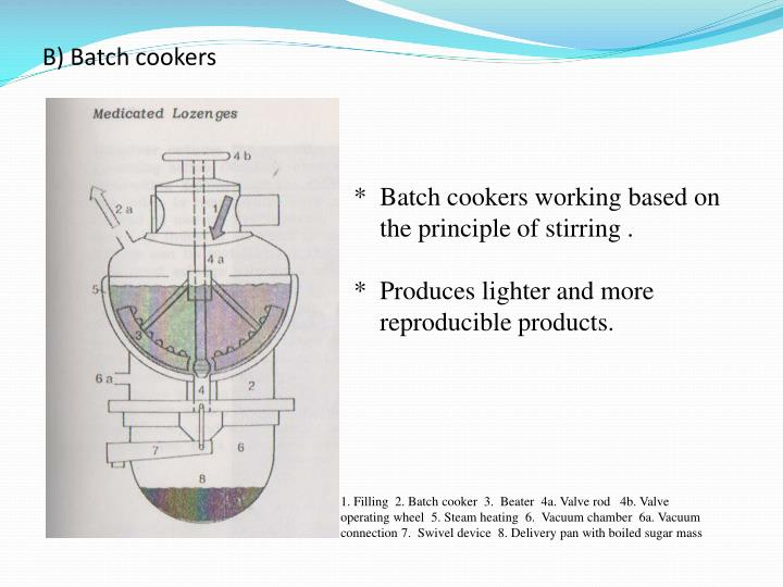 B) Batch cookers