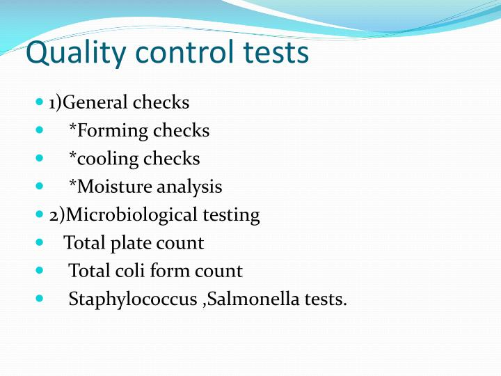 Quality control tests