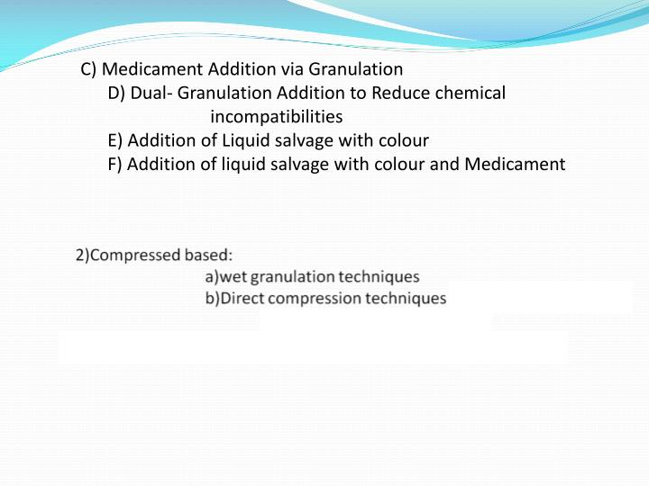 C) Medicament Addition via Granulation