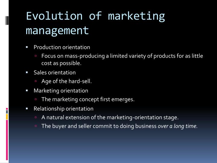 Evolution of marketing management