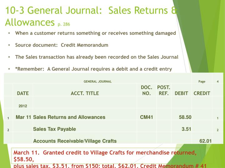 10-3 General Journal:  Sales Returns