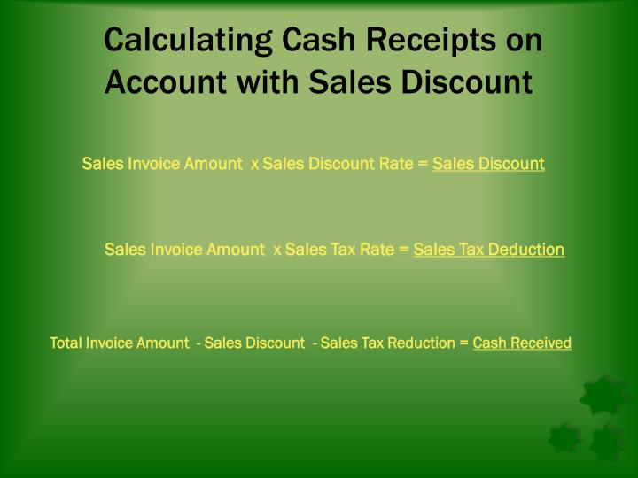 Calculating Cash Receipts on Account with Sales Discoun