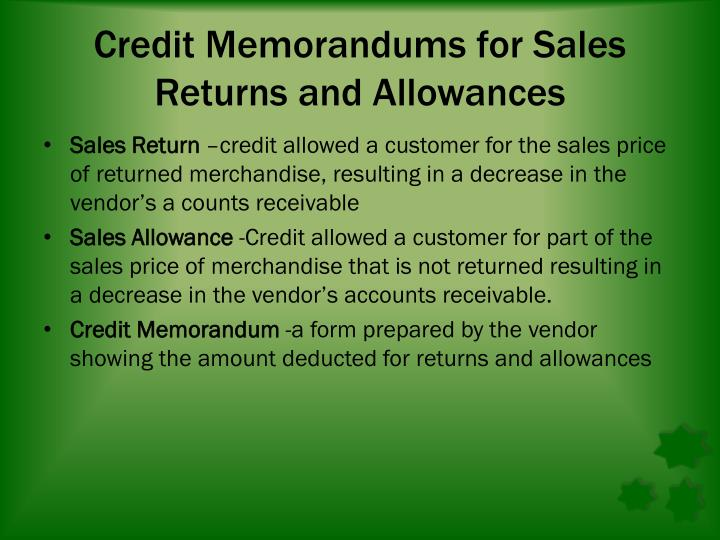 Credit Memorandums for Sales Returns and Allowances