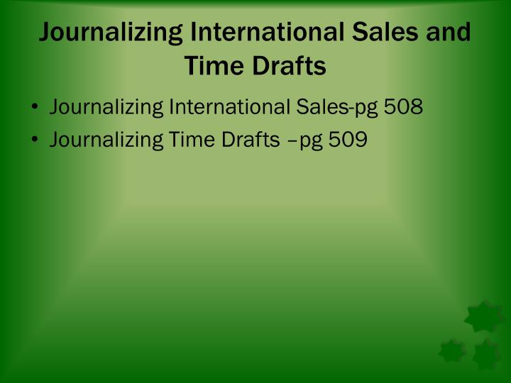 Journalizing International Sales and Time Drafts