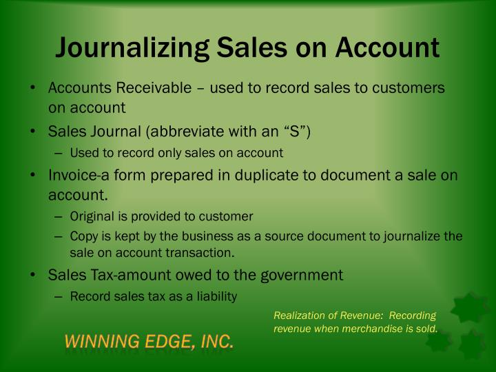 Journalizing Sales on Account