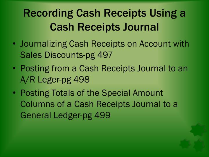 Recording Cash Receipts Using a Cash Receipts Journal