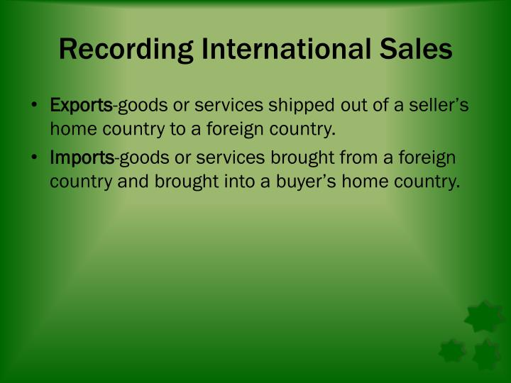 Recording International Sales