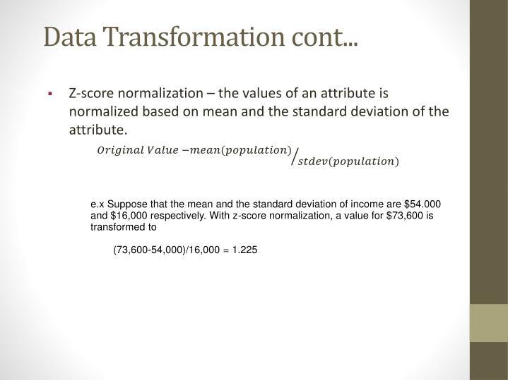 Data Transformation cont...