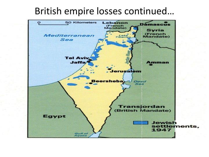 British empire losses continued…