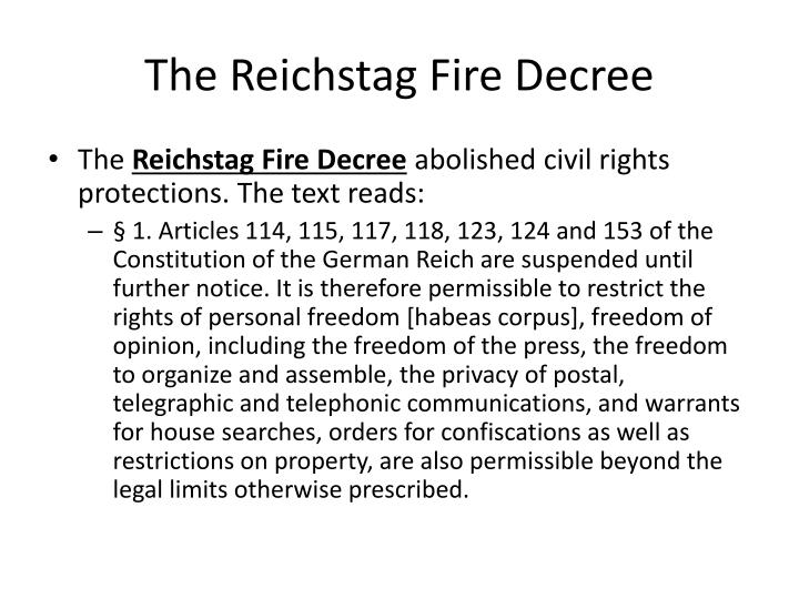 The Reichstag Fire Decree