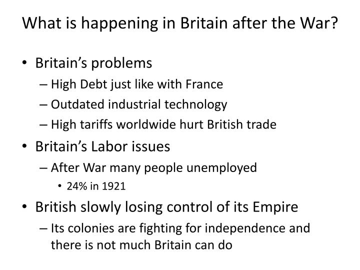 What is happening in Britain after the War?