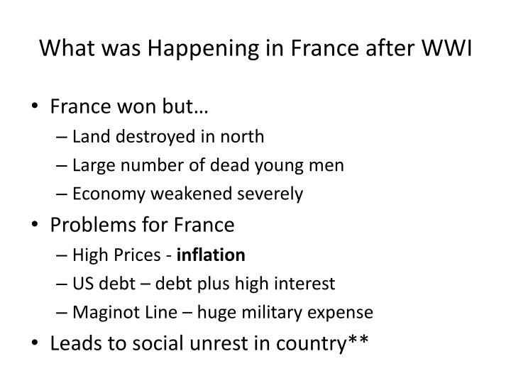 What was Happening in France after WWI