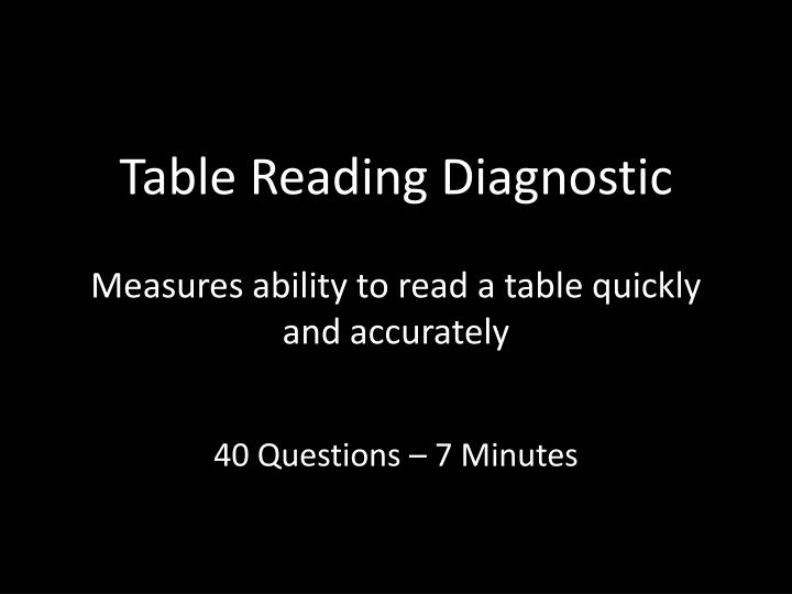 Table Reading Diagnostic