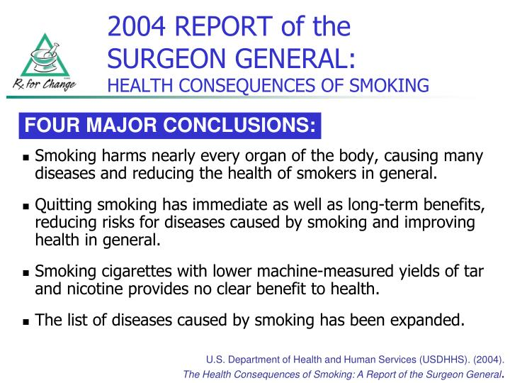 Smoking harms nearly every organ of the body, causing many diseases and reducing the health of smokers in general.