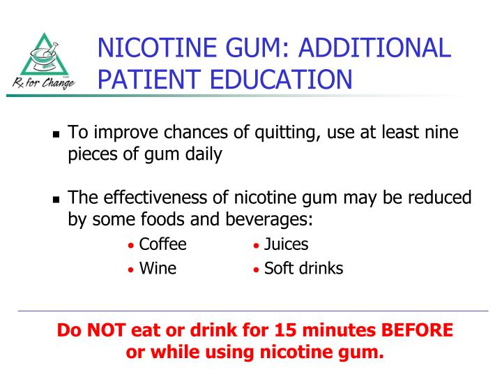 NICOTINE GUM: ADDITIONAL PATIENT EDUCATION