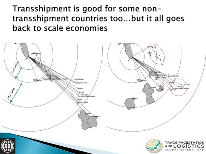 Transshipment is good for some non-transshipment countries too…but it all goes back to scale economies
