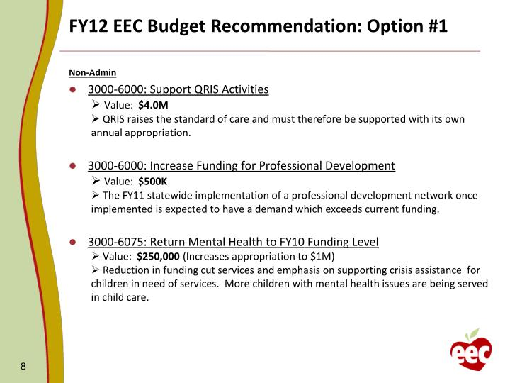 FY12 EEC Budget Recommendation: Option #1