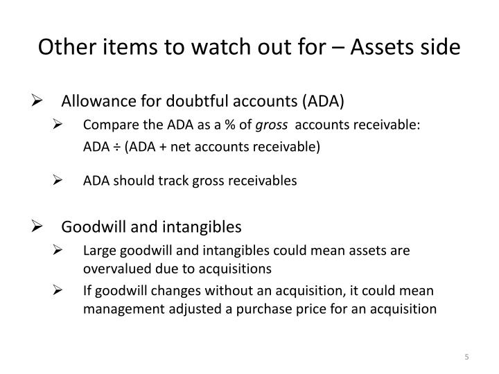 Other items to watch out for – Assets side