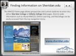 finding information on sheridan edu