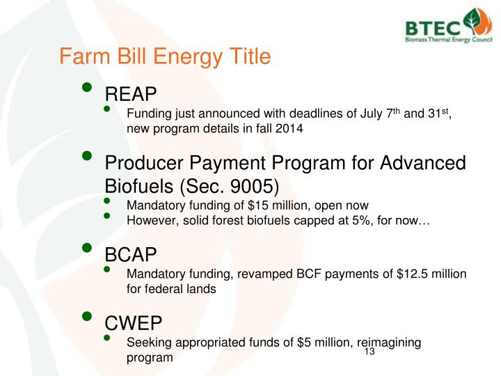 Farm Bill Energy Title