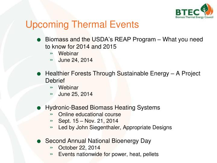 Upcoming Thermal Events