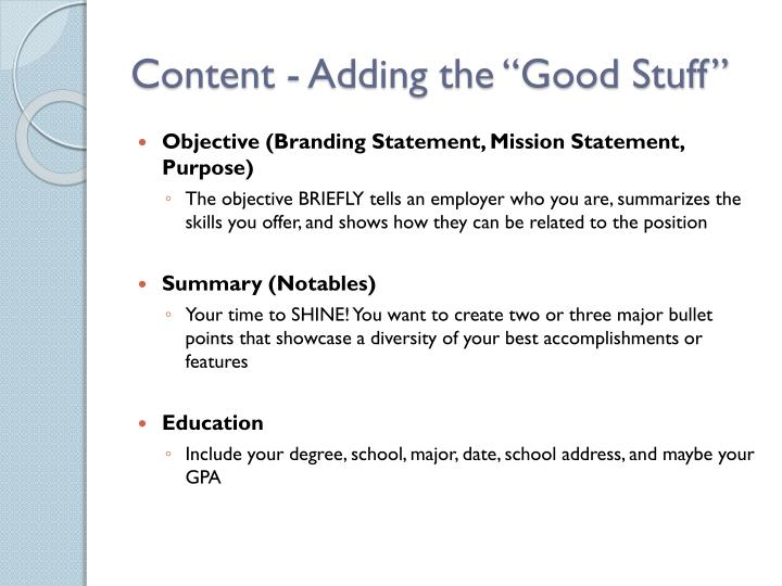 "Content - Adding the ""Good Stuff"""