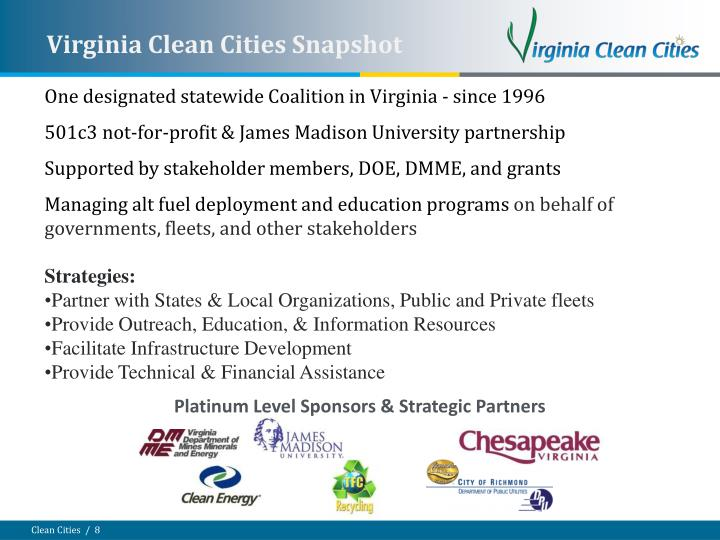 One designated statewide Coalition in Virginia - since 1996
