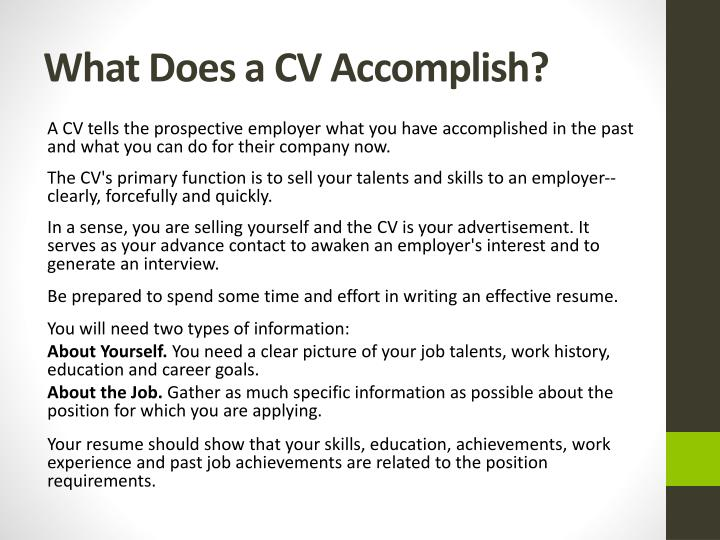 What does a cv accomplish