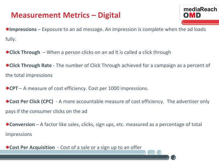 Measurement Metrics – Digital