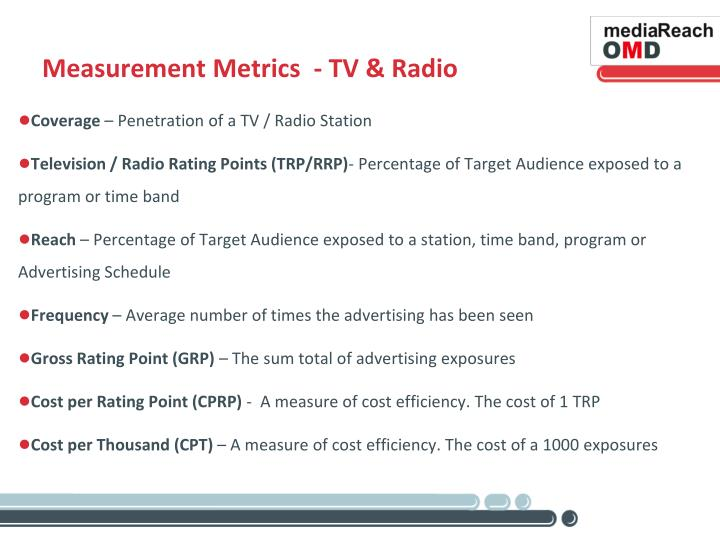 Measurement Metrics  - TV & Radio