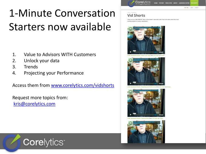 1-Minute Conversation Starters now available