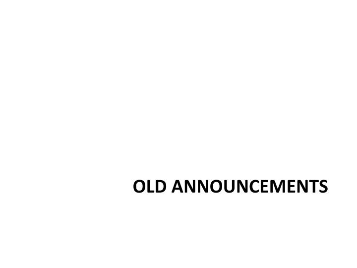 Old announcements