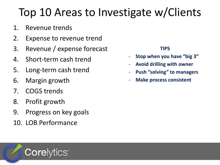 Top 10 Areas to Investigate w/Clients