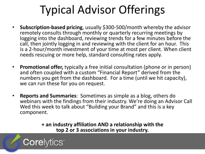 Typical Advisor Offerings