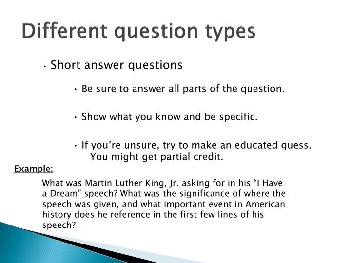 Different question types