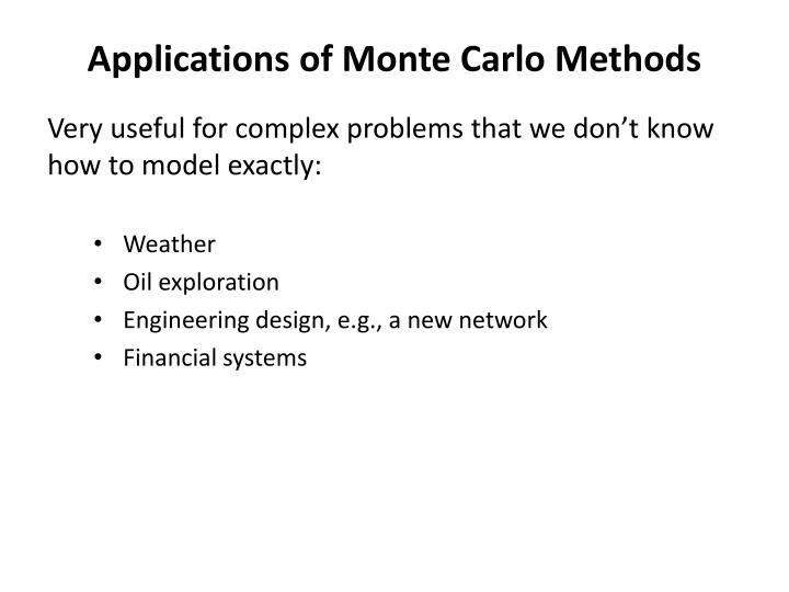 Applications of Monte Carlo Methods