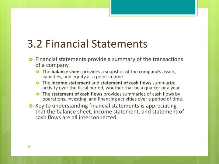 3.2 Financial Statements