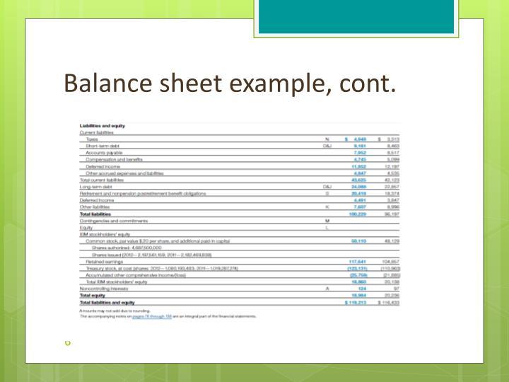 Balance sheet example, cont.